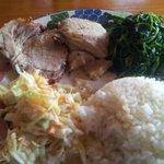 Roast Pork, watercrest, coleslaw and rice @P180