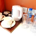 Complimentary bottled water and coffee