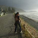 2mins walk to wild stormy day on the beach, invigorating.