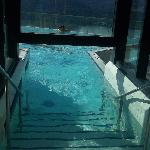 entering into infinity outside pool