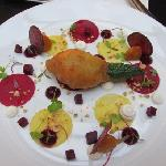 Stuffed zucchini flower with woodside goats curd, pickled beetroots and hazelnuts The Devonshire