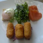 NZ Smoked Salmon, Parsnip croquette, beetroot with slow cooked poached egg