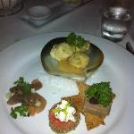 Mixed Entree Plate: crab & prawn cakes, tuna carpaccio, melon salad & chicken liver pate