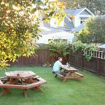 Quiet, well maintained garden with chairs and tables