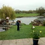 Dylan feeding the ducks outside the dining room