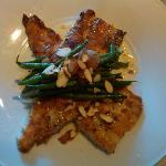 Roasted trout with tomato confit, haricots verts, and truffle butter. Delicious!
