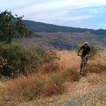riding on the mountain biking course in the grounds of the farmhouse