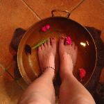 Foot bath with essential oils upon entry.