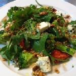 Broccoli, slow roasted tomatoes, rocket & blue cheese & a toasted hazel nut dressing