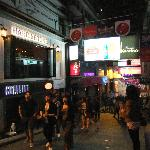 The view of Lan Kwai Fong with Harrington's on the left