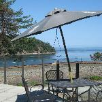 view from Bennett Bay Bistro patio at Mayne Island Resort