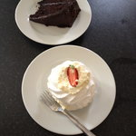 chocolate fudge cake and strawberry meringue