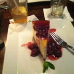 cheesecake with cherry compote.