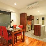 1 bed room dining and kitchen