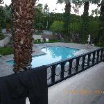 looking down at the pool from our balcony...the hot tub is located top right of picture