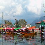 Shikaras docked on side of Nagin lake