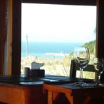 View of the sea from inside the restaurant