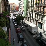 View towards plaza from hotel balcony