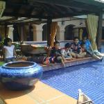 Cool place to hang out – by the gazebos near the hotel entrance with a fountain in the middle..