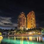 Resort exterior by night