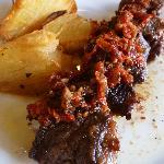 Steak brochette with salsa chimichurri & the most amazing roasted (sliced) potato!