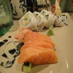 Dynamite roll and salmon sashimi