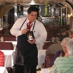 wine tasting on the sleeper section of the train