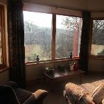 Lounge windows overlooking the mountain.