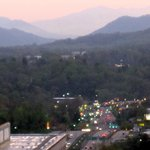 View of Asheville from Sky Bar at dusk