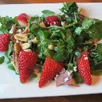 Watercress, Strawberry, Country Ham Slivers,and Peanuts Salad