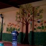 One of the levels in the patio. Love the mural. Nice!