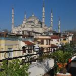 View from breakfast terrace to Sultan Ahmed Mosque