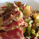 Ahi Tuna and Moroccan Vegetables over cous cous