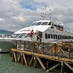 Boat docked at the Serrano Glacier