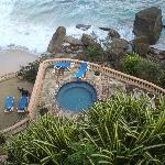 The plunge pool just above the private beach.