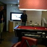 Playing pool in the lounge