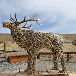 life size bull elk statue made from antler