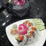 Alaska Roll with Sashimi rose garnish