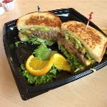 Double Char Cheese on Grilled Sour Dough with Avocado
