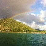 Sailing to a local secluded beach - perfect rainbow