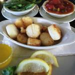 Broiled Scallop with Soup or Salad and two sides...$14....WOW, amazing!