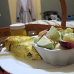 Breakfast: Vegetable quiche, waldorf salad (?), pastry & orange juice