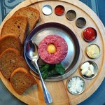 Steak tartare with all of the traditional accompaniments