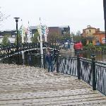 boardwalk around lake-shopping district in distance