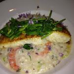 Alaskan Halibut with a Lemon-Shrimp Risotto