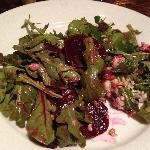 Roasted beet and arugula salad with chevre