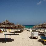 the hotel's beach area