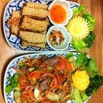 Beef salad and prawn on toast amazing !!!!