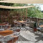 Upstairs decking with a glorious view down the Avon