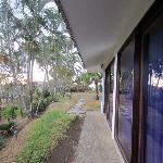 Looking left from our cabina, walkway to the Rancho